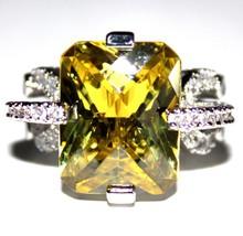 Glam Chunky Cubic Zirconia Checker Cut Peridot Yellow-Green Spring Gala ... - $32.99