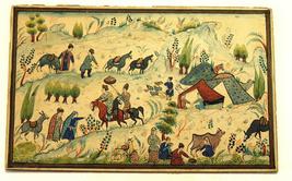 Antique Persian Handmade Miniature Painting Islamic Artwork Rural Scene image 1