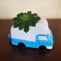 """RV Planter, Vehicle Plant Pot, Van Life Decor, blue white 5"""" ceramic image 3"""