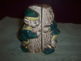 Midcentury Vintage Pixie Elf Salt & Pepper Pair Figurines Hugging Trees ... - $15.00