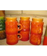 6 Fire King Kimberly Red Orange  Coffee Mugs Cups - $24.95