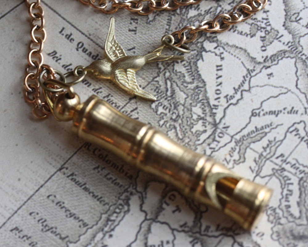 Whistle Necklace, Vintage Whistle Necklace, Bamboo Brass Whistle with Bird Charm