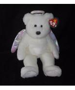 "13"" LARGE TY 1999 BEANIE BUDDIES HALO ANGEL WHITE BEAR STUFFED ANIMAL PL... - $16.83"