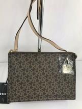 DKNY Handbag Purse Crossbody Brown Gold Commuter Top Zip Signature $108-... - $46.75