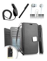 LG Q7 / Q7 Plus Blister Black Flip Flap Pouch Magnetic Wallet Case Cover - $12.99