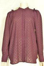 Ann Taylor top SZ S NWT wine brown raisin color long sleeve tonal embossed - $39.59