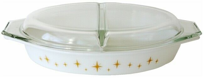USA  Pyrex Constellation Atomic Starburst Yellow Gold Divided Casserole Dish
