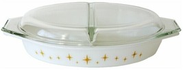USA  Pyrex Constellation Atomic Starburst Yellow Gold Divided Casserole ... - $79.19