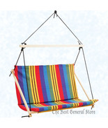 Brightly Colored Stripes Love-Seat Porch Swing Double-Wide Hanging Rope ... - $103.95