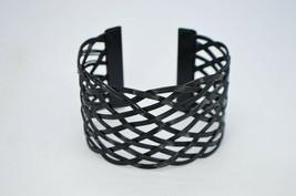 Black Enameled Basket Weave Style Metal Cuff 1980s Cuff Bracelet - $19.79