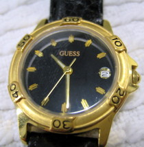 Vintage GUESS? wristwatch gold tone and genuine black leather watch band - £28.19 GBP