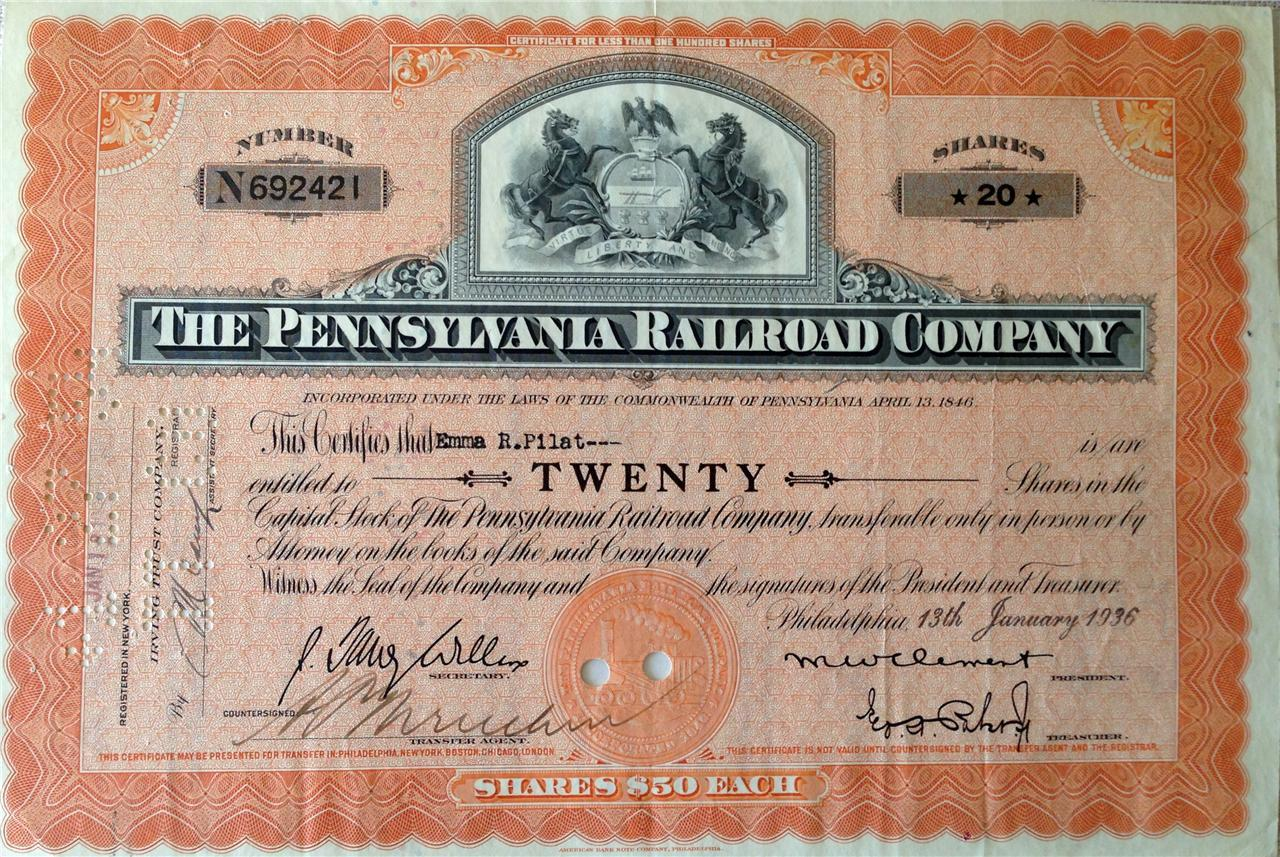 1936 The Pennsylvania Railroad Company Shares Vintage Antique 20 shares