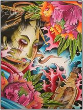 Japanese Lady with Bottle Watercolor Tattoo Art Print - $15.00
