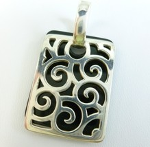 Sterling Silver and Black Onyx Overlay Tag Filigree Design Square Pendant - $59.00