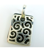 Sterling Silver and Black Onyx Overlay Tag Filigree Design Square Pendant - $58.00