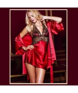 Short Satin Halter Chimese w/ Black Lace and Matching Robe Gown Pajama S... - $67.95