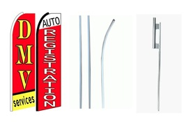 DMV Services/Auto Registration king size swooper feather flag complete kit - $108.00