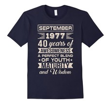 Classic Vintage Limited September 1977 40Th Birthday T-Shirt Men - $17.95+