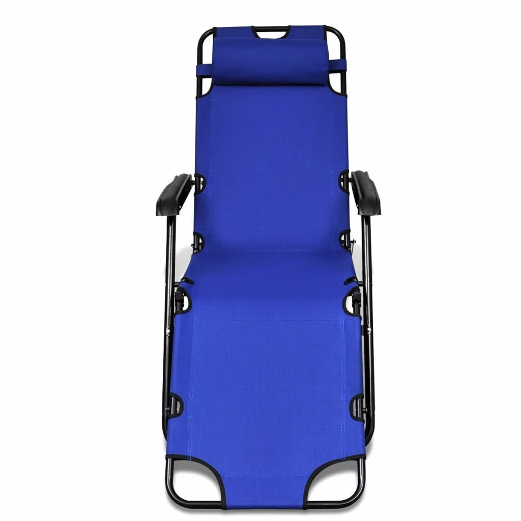 vidaXL 2x Folding Sun Loungers Reclining Chairs 3 Positions Sunbeds 3 Colors image 4