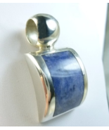 Artisan Crafted Sterling Sodalite Gemstone Square Pendant   - $68.00