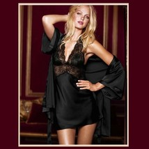 Short Satin Halter Chimese w/ Black Lace and Matching Robe Gown Pajama Sleep Set image 2