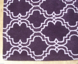 French Accent Scroll Tile Purple 9 X12 Handmade Persian Style Wool Area Rug - $799.00