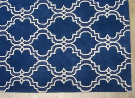 French Accent Scroll Tile Blue 6' X 9' Handmadepersian Style 100% Wool Area Rug - $479.00