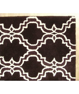 FRENCH ACCENT SCROLL TILE BROWN 9'x12' HANDMADE PERSIAN STYLE 100% WOOL AREA RUG - $799.00