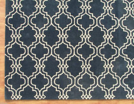 Moroccan Scroll Tile Carbon Blue 9' x 12' Handmade Persian Style Wool Area Rug - $799.00