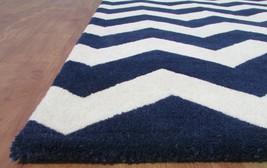 Chevron Zig Zag Navy Blue 9' x 12' Handmade Transitional Wool Area Rug Carpet - $799.00