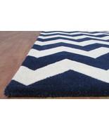 Chevron Zig Zag Navy Blue 9' x 12' Handmade Transitional Wool Area Rug C... - $799.00