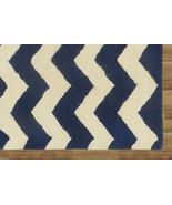 Chevron Zig Zag Blue 9' x 12' Handmade Persian Style 100% Woolen Area Ru... - $799.00