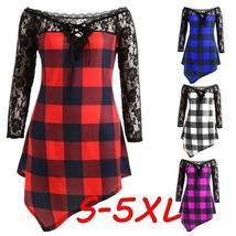 Plaid Checker Lace High Low Shirt - $14.14