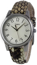 New TIMEX T2P088 Classics Women's Round Watch Python Patterned Leather S... - $34.97