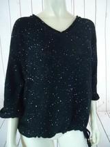 DKNY Jeans Sweater M Black See-Thru Cotton Poly Drawstring Waist Sparkle... - $58.41