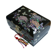 Lacquer inlaid mother of pearl peony The flower jewelry box  jewel case#... - €241,85 EUR