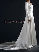 Rosyfancy Long Sleeves Satin A-line Gown, Inspired By Bella's Wedding Dress - $375.00