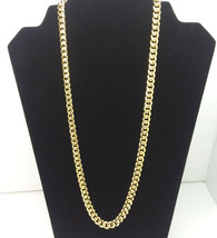 "Cuban Link Gold Chain Necklace 30"" Polished Over Stainless Steel - £18.10 GBP"