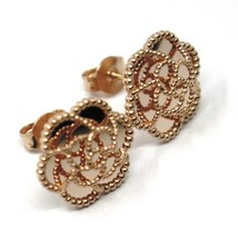 18K ROSE GOLD BOTTON FLOWER DAISY EARRINGS 14 MM, DOUBLE LAYER WORKED MIRROR image 1