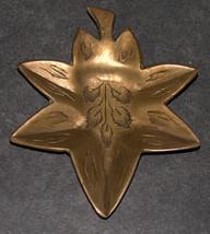 Vintage Bronze Trinket Tray Small Dish Leaf Shape Engraved 40 gr Signed India image 2