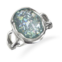 Sterling Silver Ring with Oval Genuine Ancient Roman Glass - $99.89