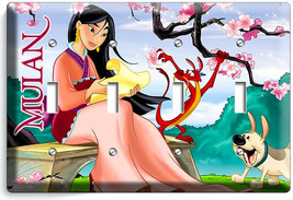 CHINESE PRINCESS MULAN AND DRAGON 4 GANG LIGHT SWITCH WALL PLATE GIRL RO... - $19.99