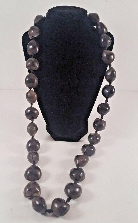 "Hawaiian Jewelry 34"" Strand Brown Large Kukui Nut Bead Necklace"