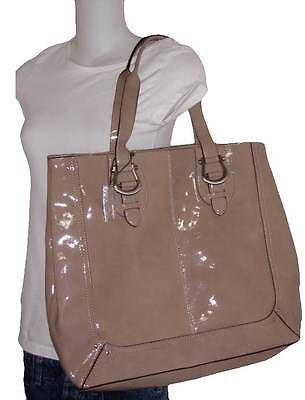 NEW W/D LIZ CLAIBORNE TAN BROWN TAUPE PATENT LEATHER LARGE TOTE $220