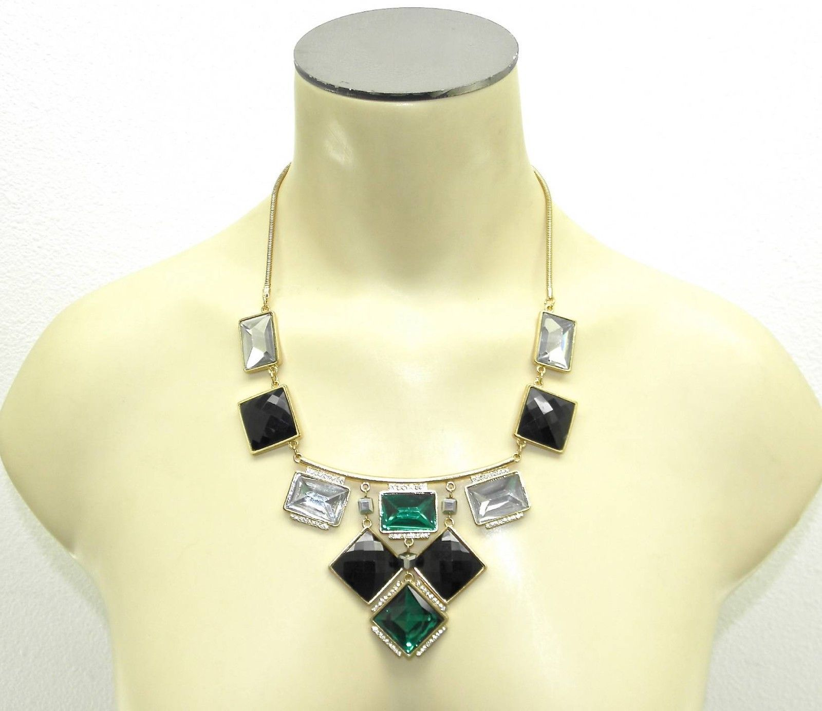 NEW BAR III STATEMENT EMERALD GREEN & CLEAR CRYSTAL GEOMETRIC GOLD NECKLACE 21""
