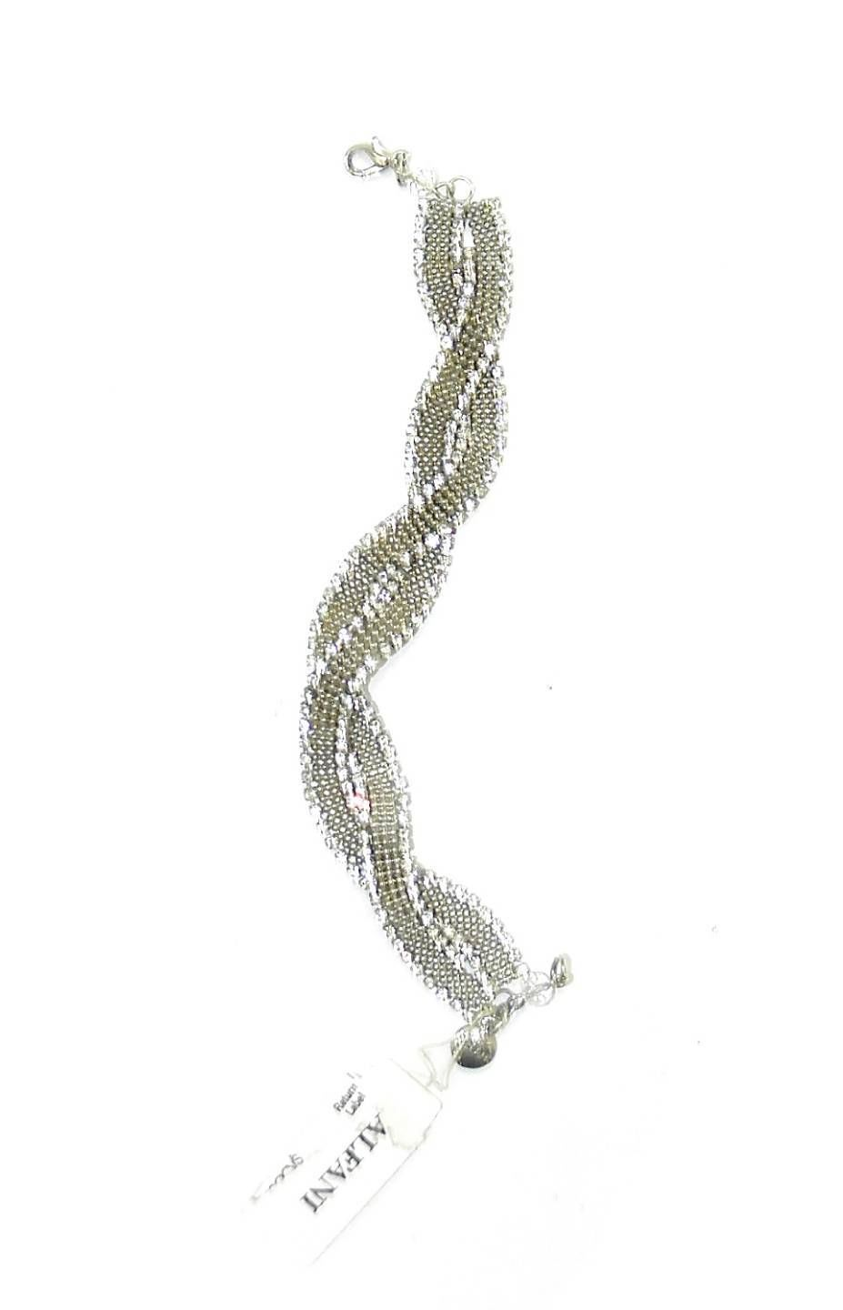 NEW ALFANI BRAIDED BRAID MESH SILVER TONED WITH CRYSTALS BRACELET