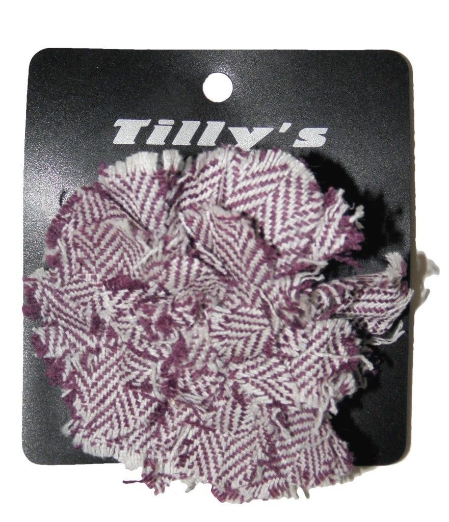 NEW TILLY'S WOMENS GIRLS PLAID TWEED PURPLE BROOCH PURSE CHARM FLOWER HAIR BOW