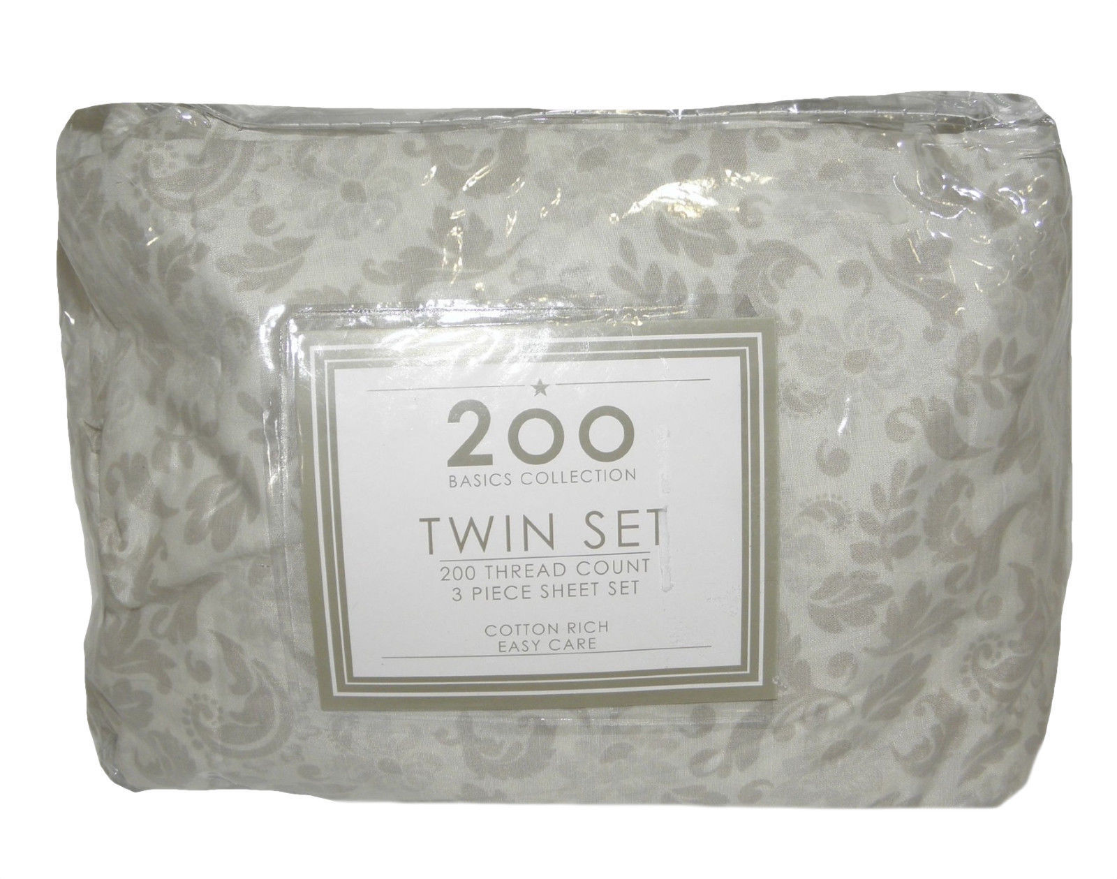 NEW 3 PIECE TWIN SHEET SET 200 THREAD COUNT BASICS COLLECTION ~ TOSCA TAUPE ~