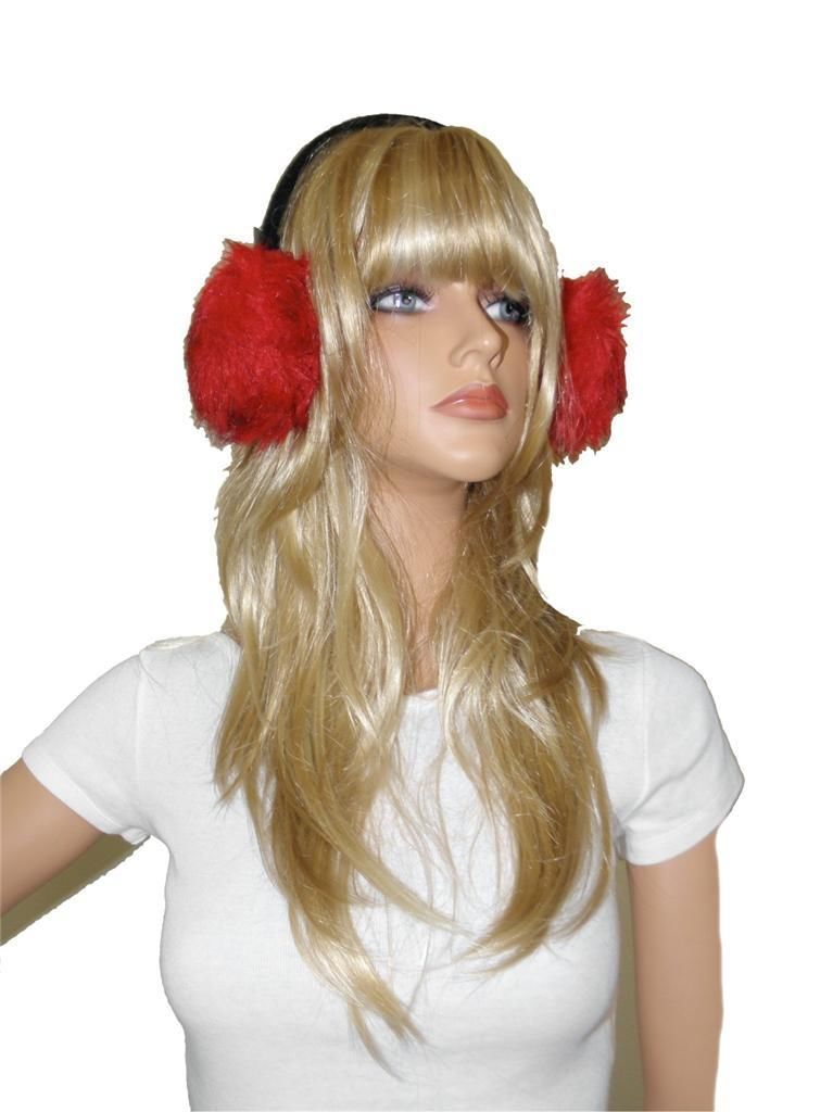 NEW RED BLACK FUR M STYLE LAB FAUX FUR EARMUFFS EAR WARMERS HAT ONE SIZE