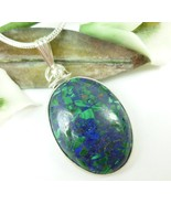 Malachite In Lapis Lazuli Gemstone Sterling Oval Pendant Necklace - $49.00